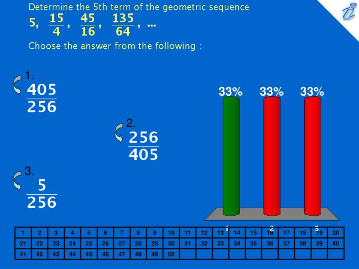 Determine the 5th term of the geometric sequence image choose the answer from the following