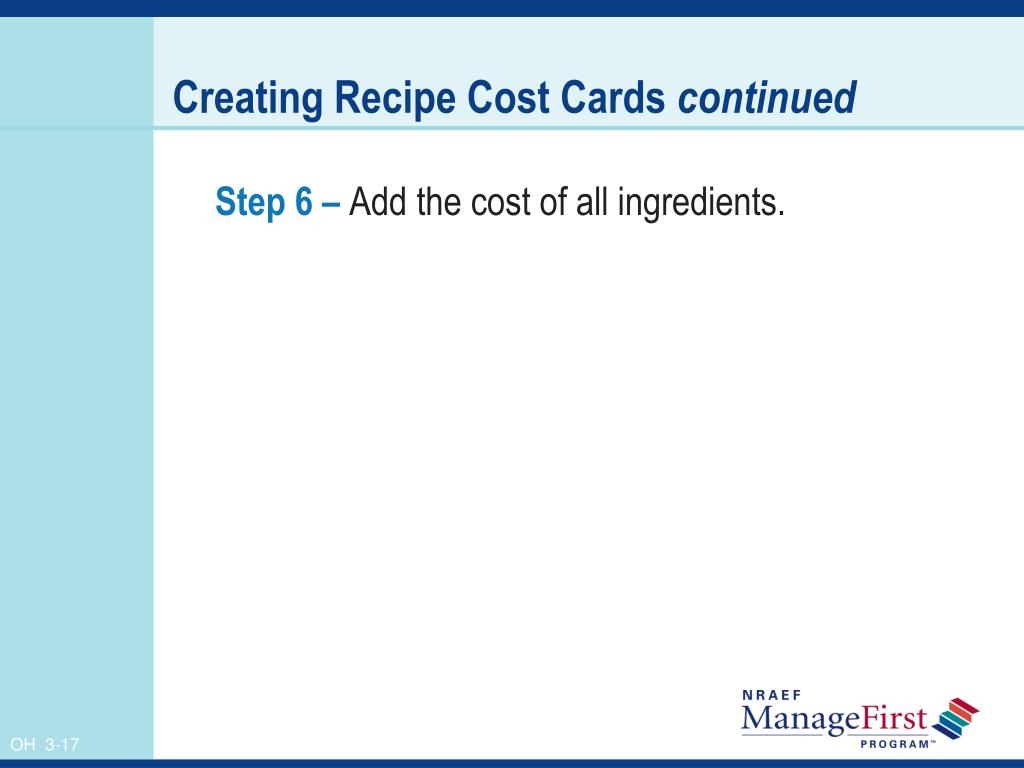 Creating Recipe Cost Cards