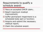 requirements to qualify a schedule award