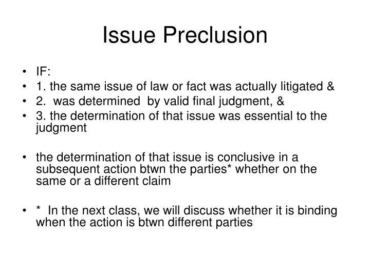 Issue Preclusion