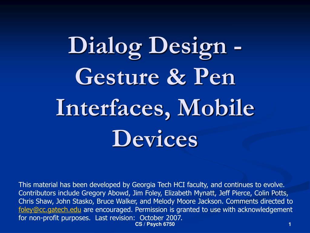 dialog design gesture pen interfaces mobile devices l.