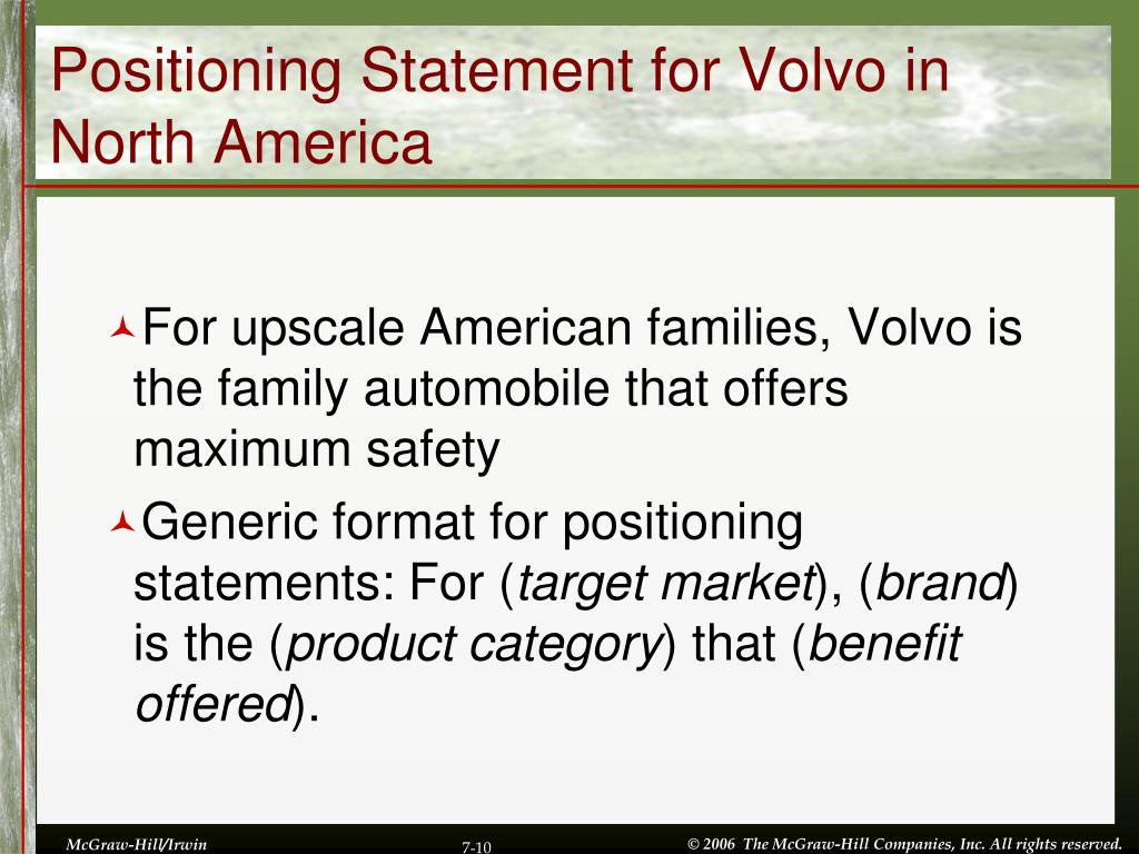 Positioning Statement for Volvo in North America