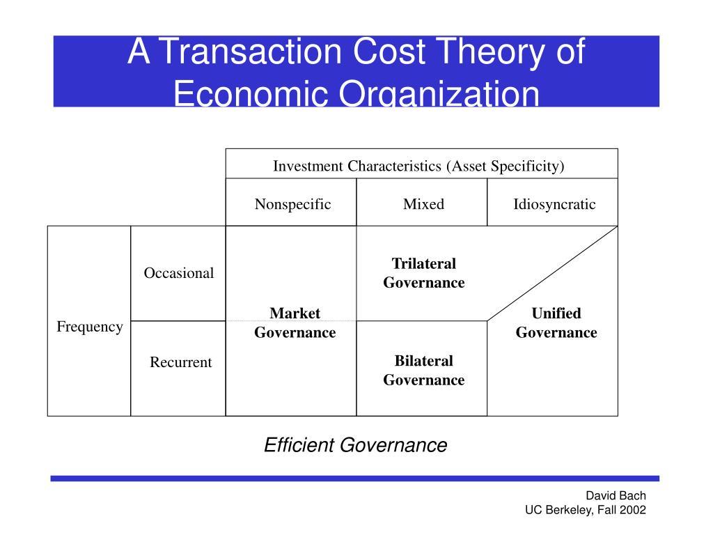 A Transaction Cost Theory of Economic Organization