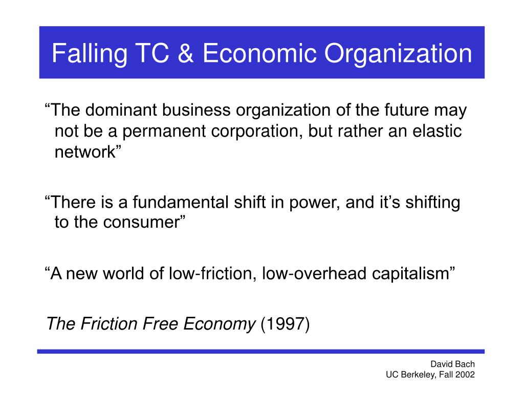 Falling TC & Economic Organization