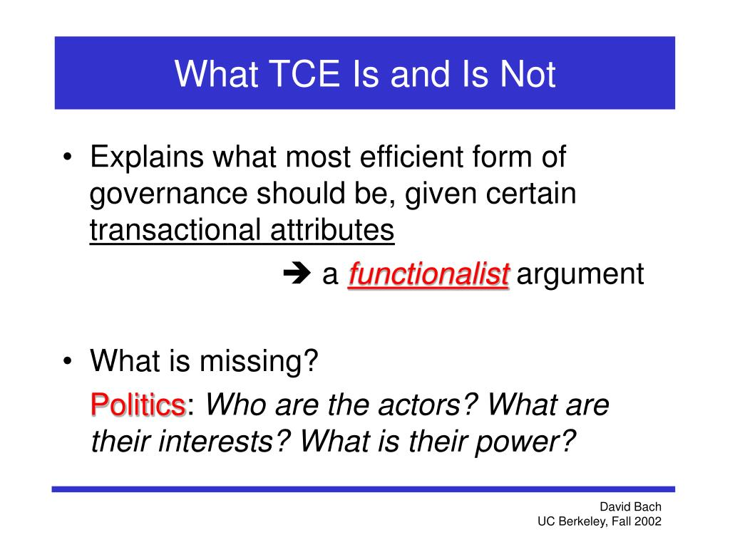 What TCE Is and Is Not
