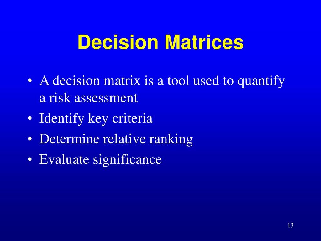 Decision Matrices