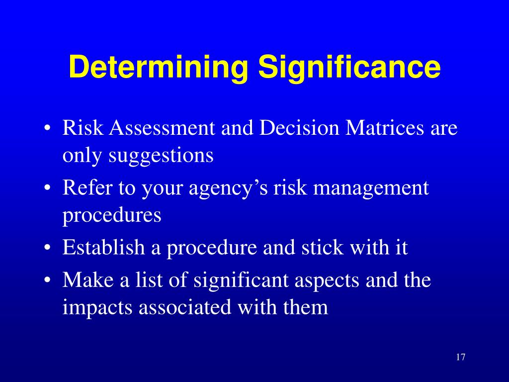 Risk Assessment and Decision Matrices are only suggestions