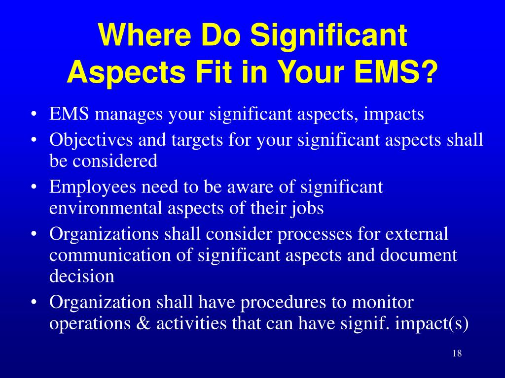 Where Do Significant Aspects Fit in Your EMS?