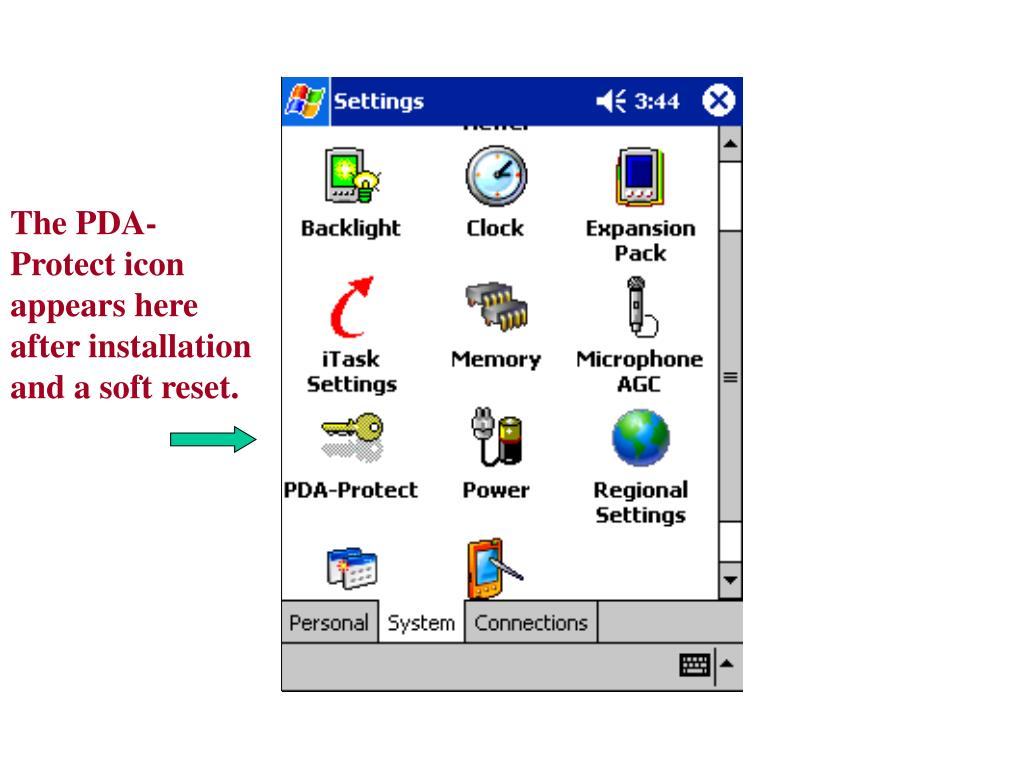 The PDA-Protect icon appears here after installation and a soft reset.