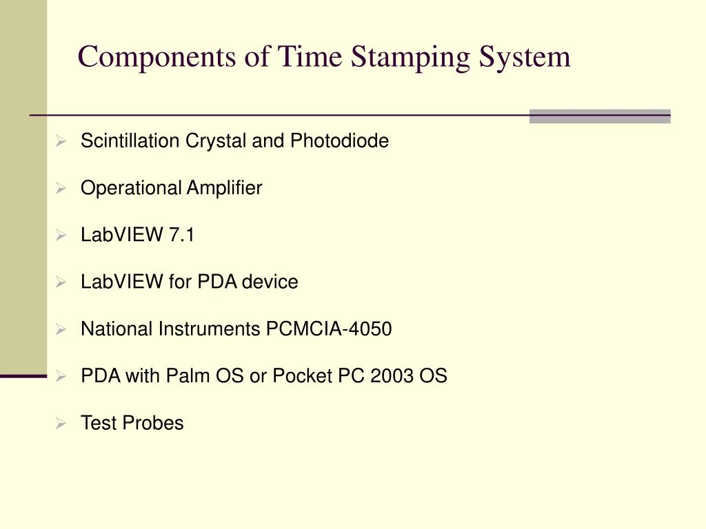 Components of Time Stamping System