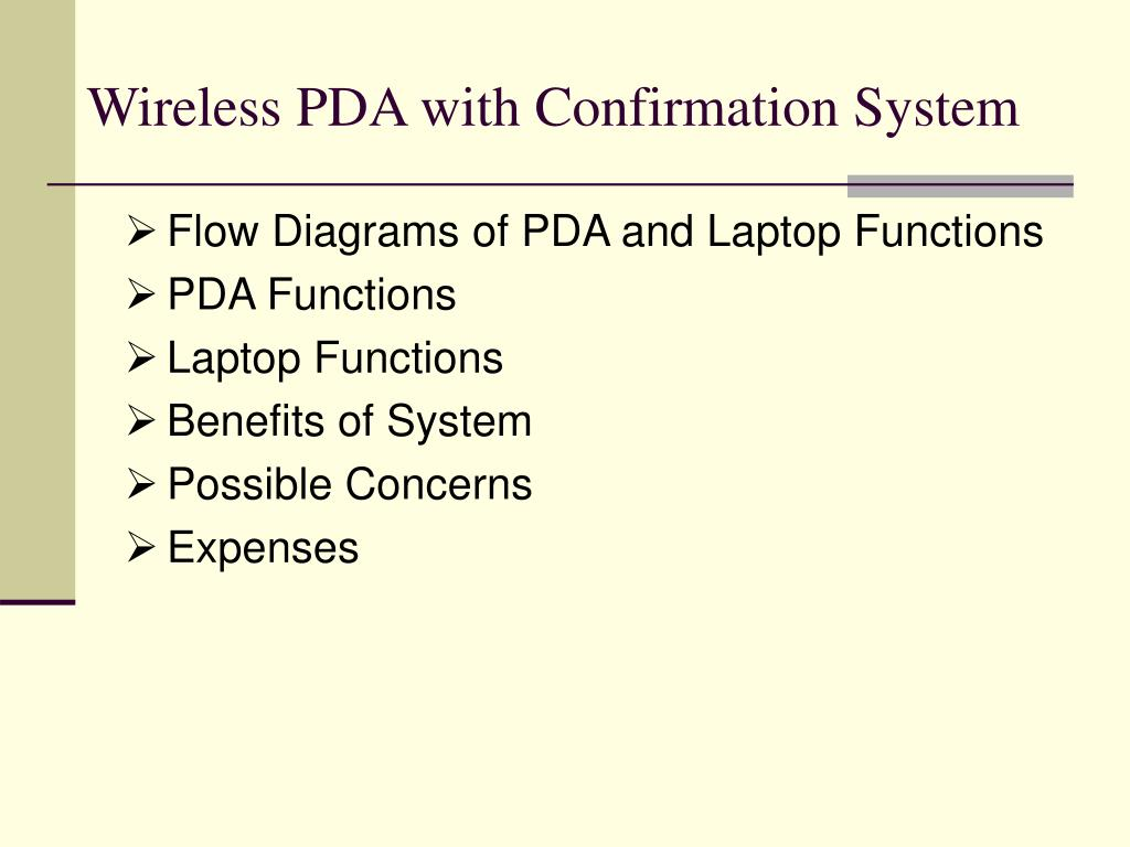 Wireless PDA with Confirmation System