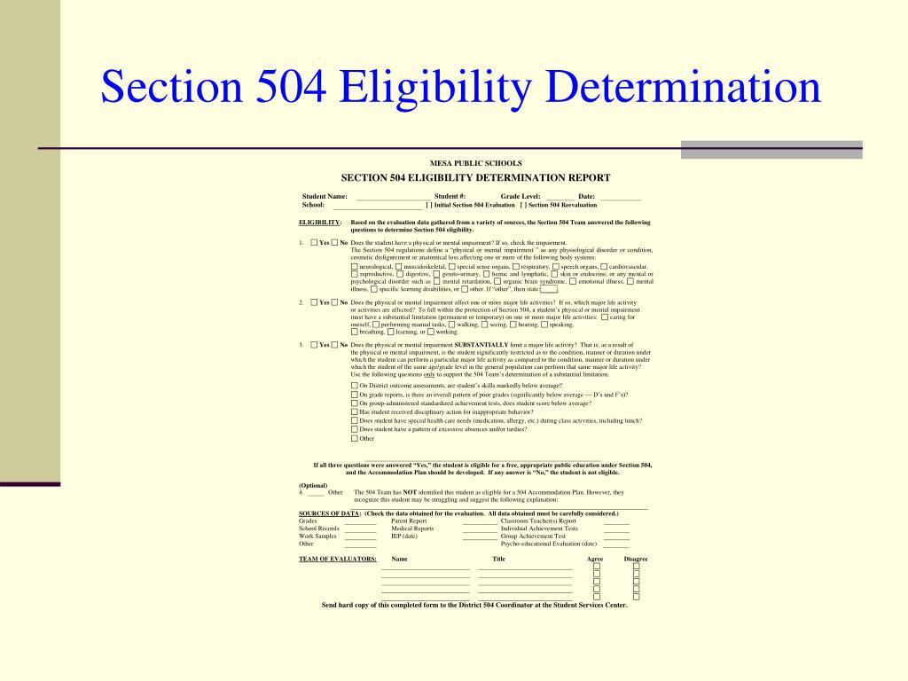 Section 504 Eligibility Determination