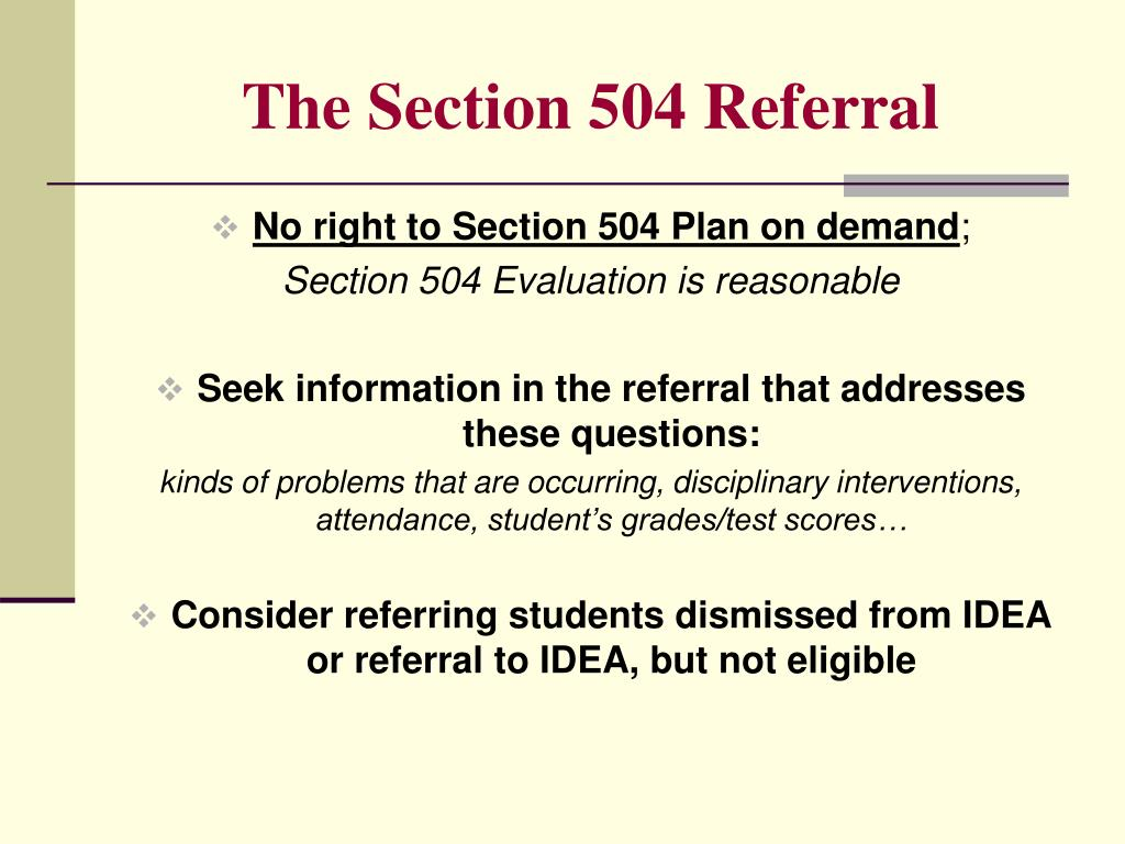 The Section 504 Referral
