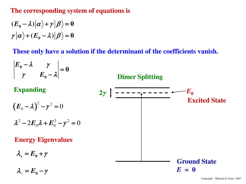 These only have a solution if the determinant of the coefficients vanish.