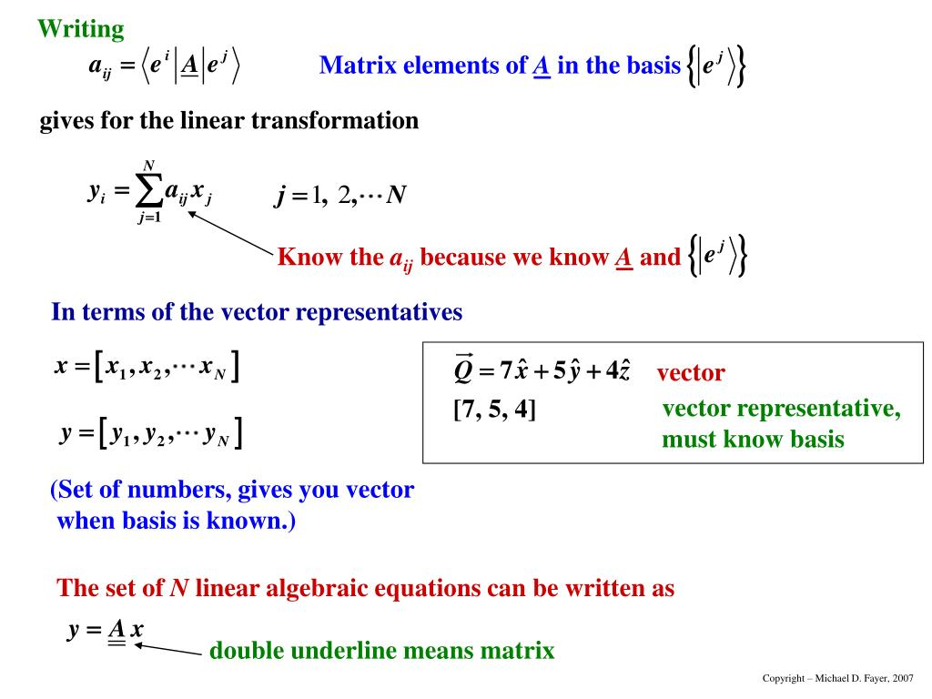 In terms of the vector representatives