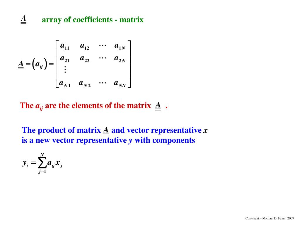 The product of matrix     and vector representative