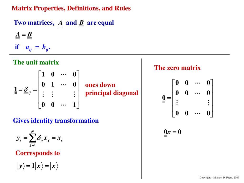 The unit matrix