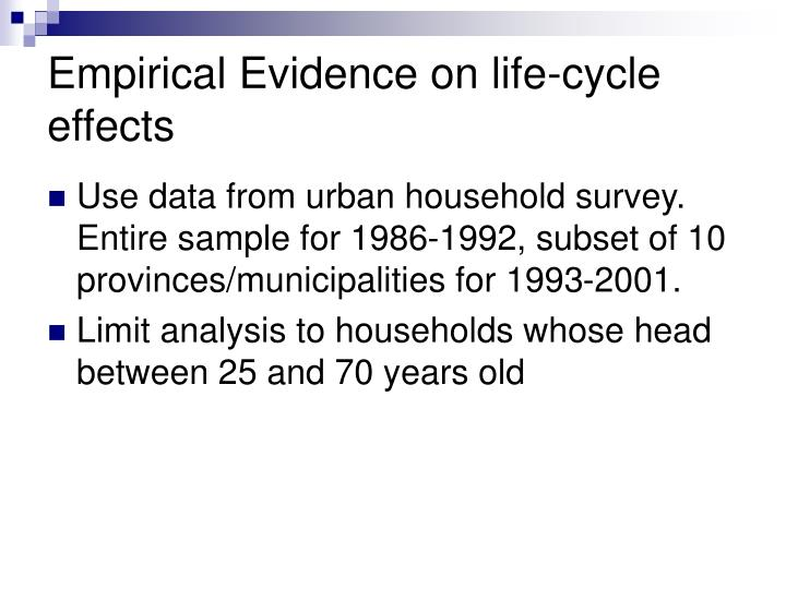 Empirical Evidence on life-cycle effects