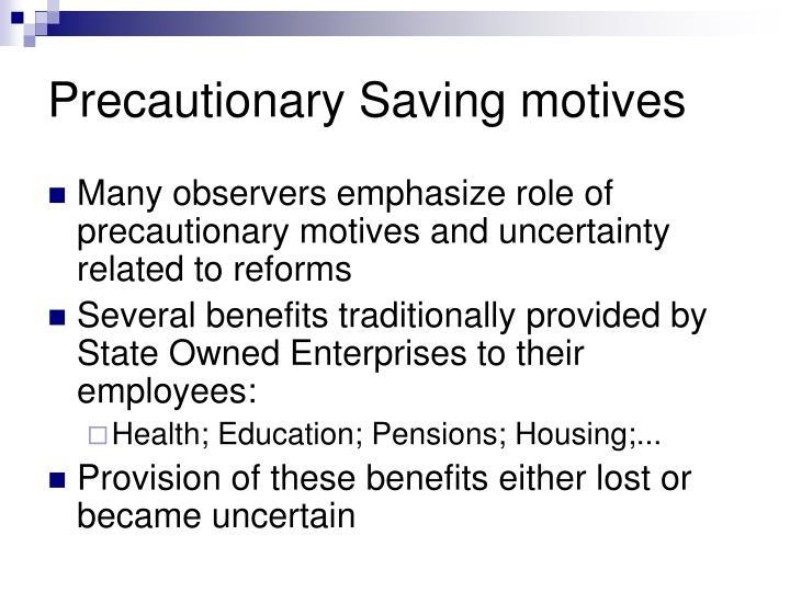 Precautionary Saving motives