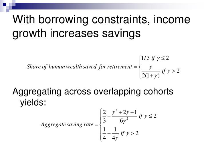 With borrowing constraints, income growth increases savings