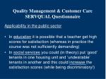 quality management customer care servqual questionnaire11