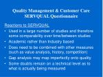 quality management customer care servqual questionnaire13