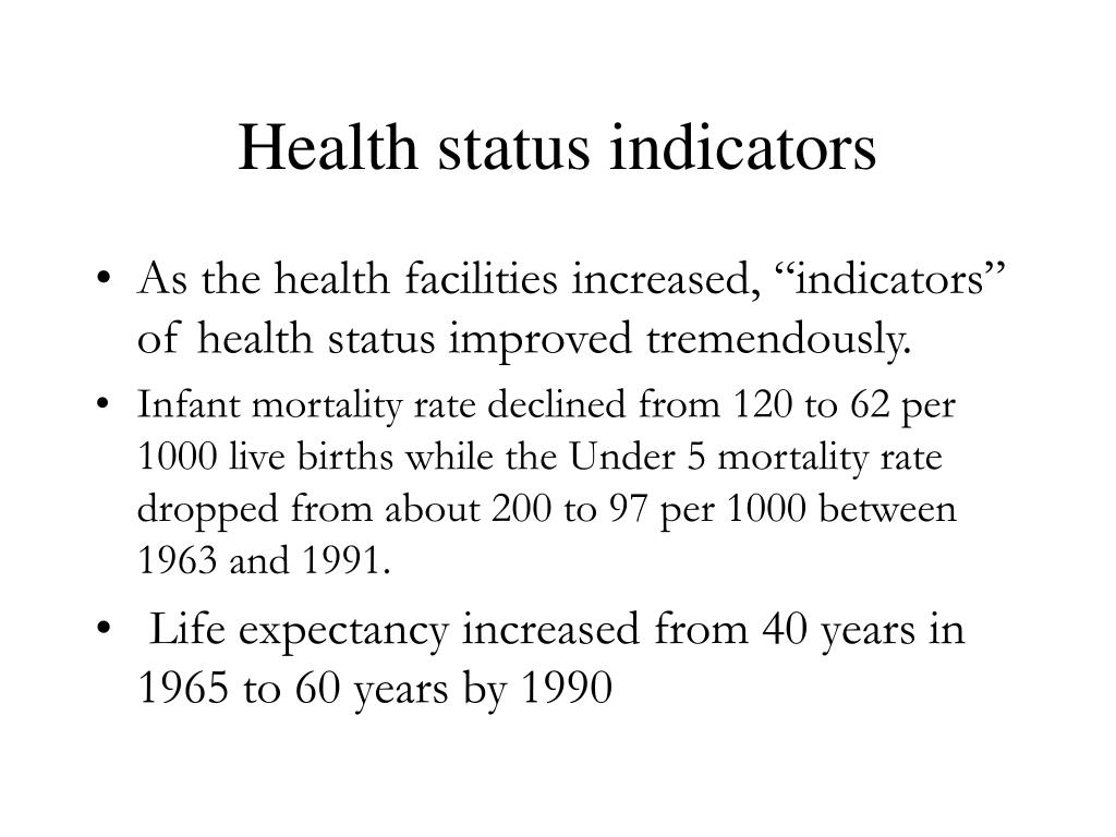 Health status indicators