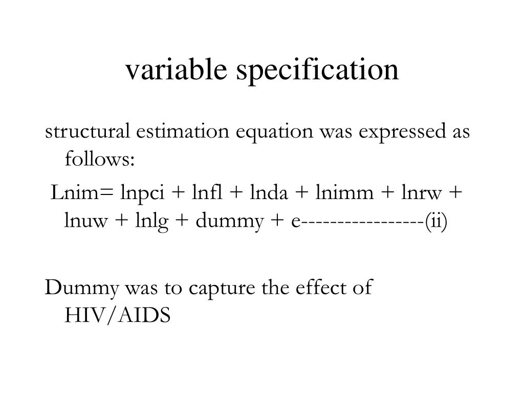 variable specification