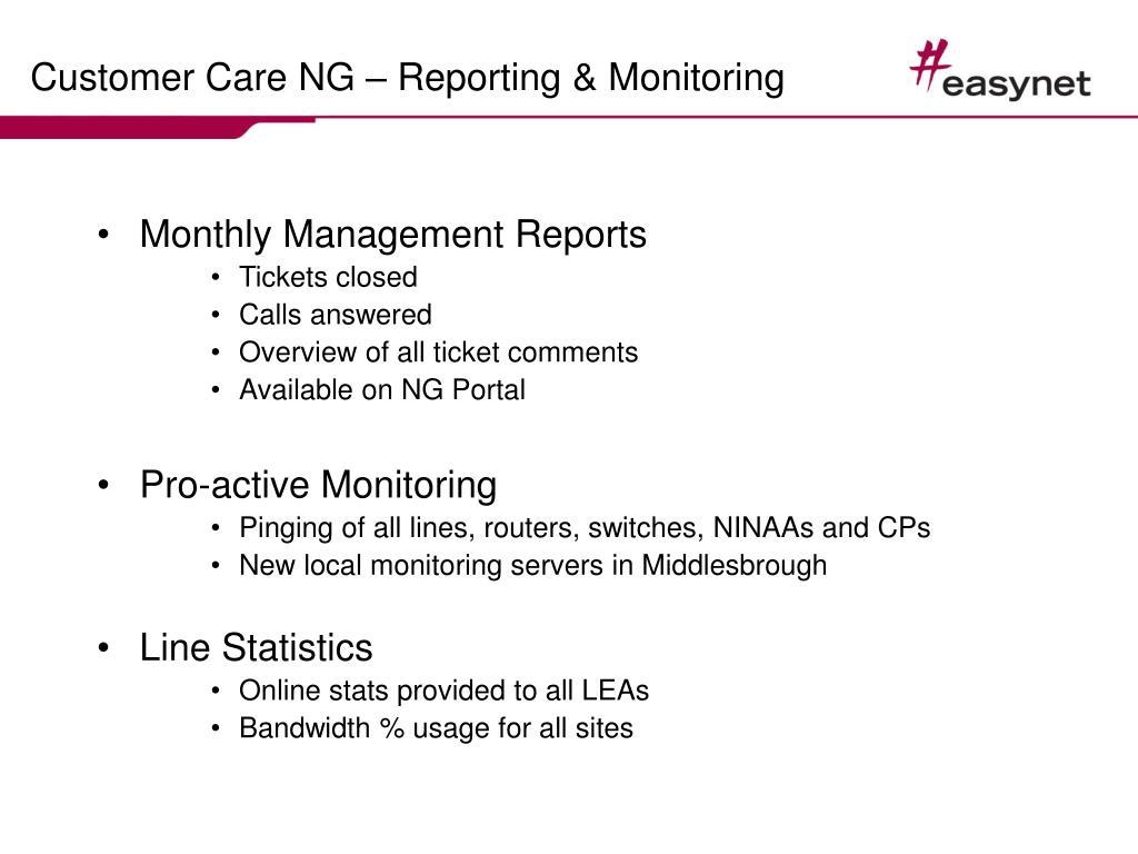 Customer Care NG – Reporting & Monitoring