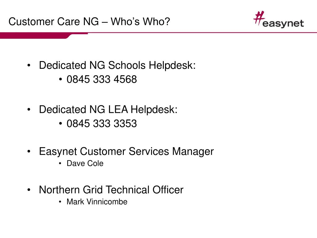 Customer Care NG – Who's Who?