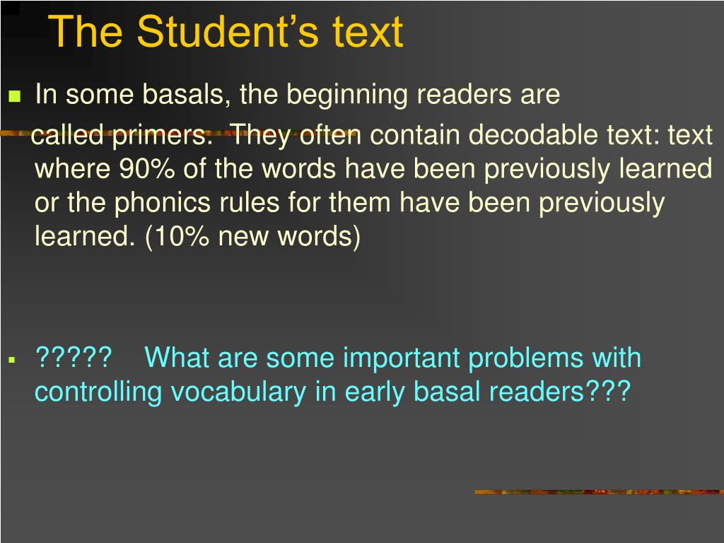 The Student's text
