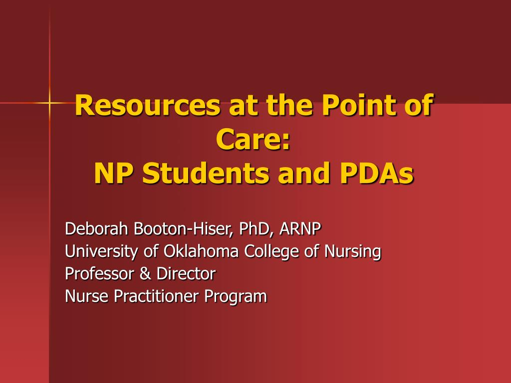 resources at the point of care np students and pdas l.