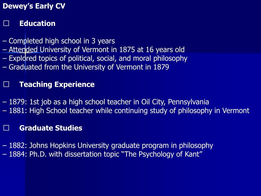 Dewey's Early CV