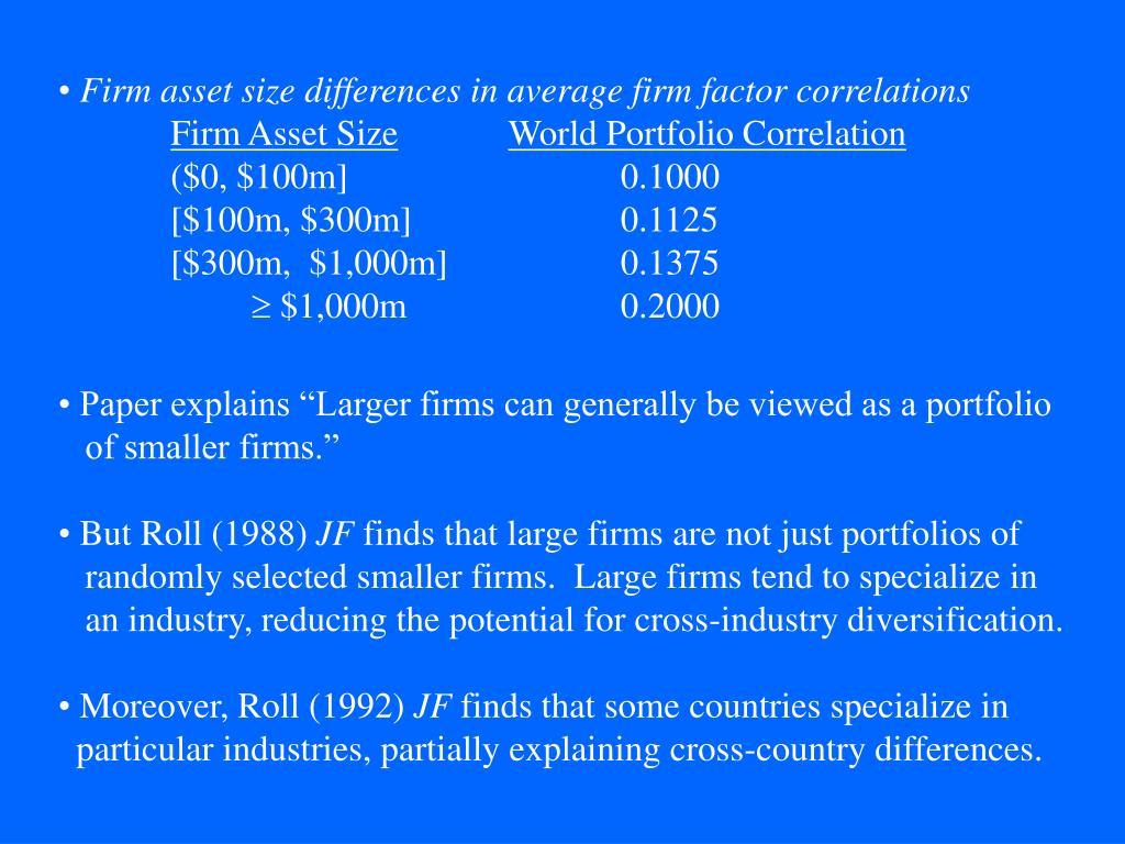 Firm asset size