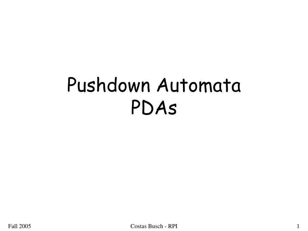 pushdown automata pdas l.
