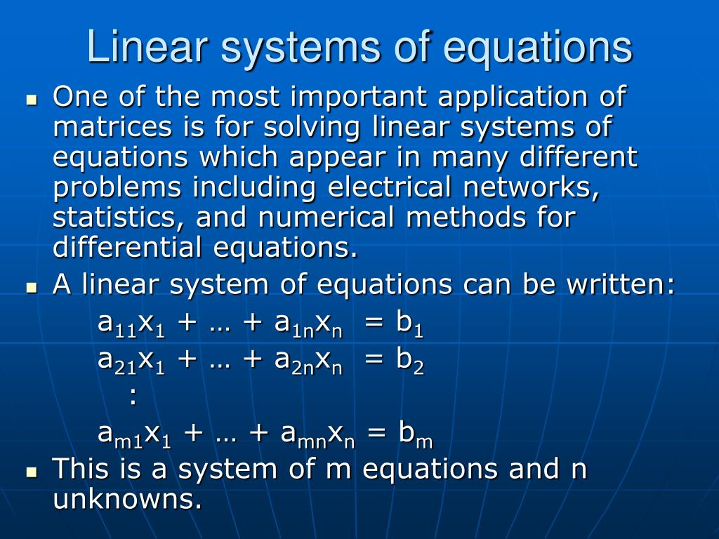 Linear systems of equations