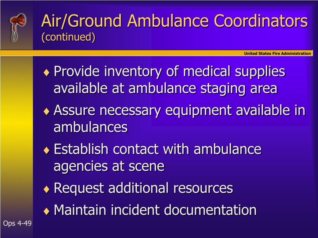 Air/Ground Ambulance Coordinators