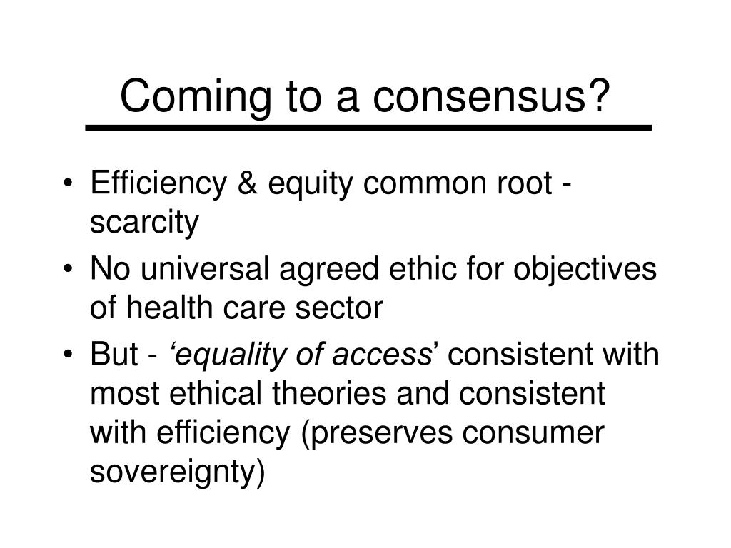 Coming to a consensus?
