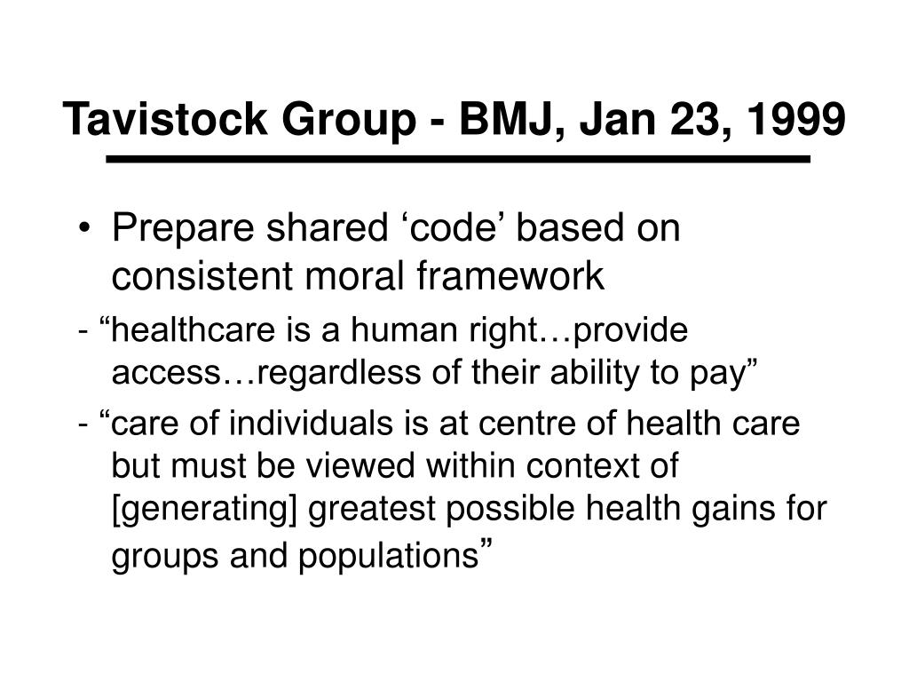 Tavistock Group - BMJ, Jan 23, 1999