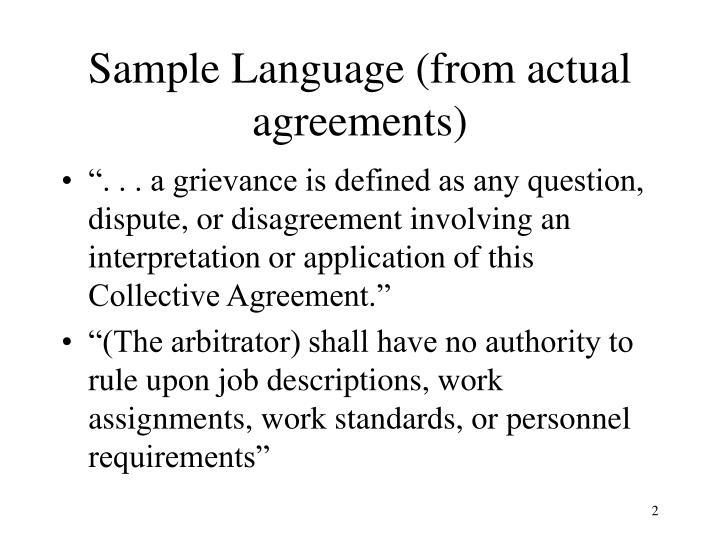 Sample language from actual agreements