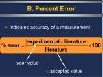 b percent error