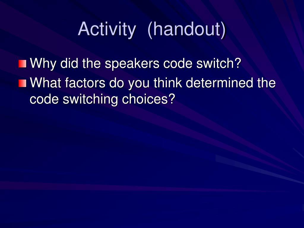 Activity  (handout)