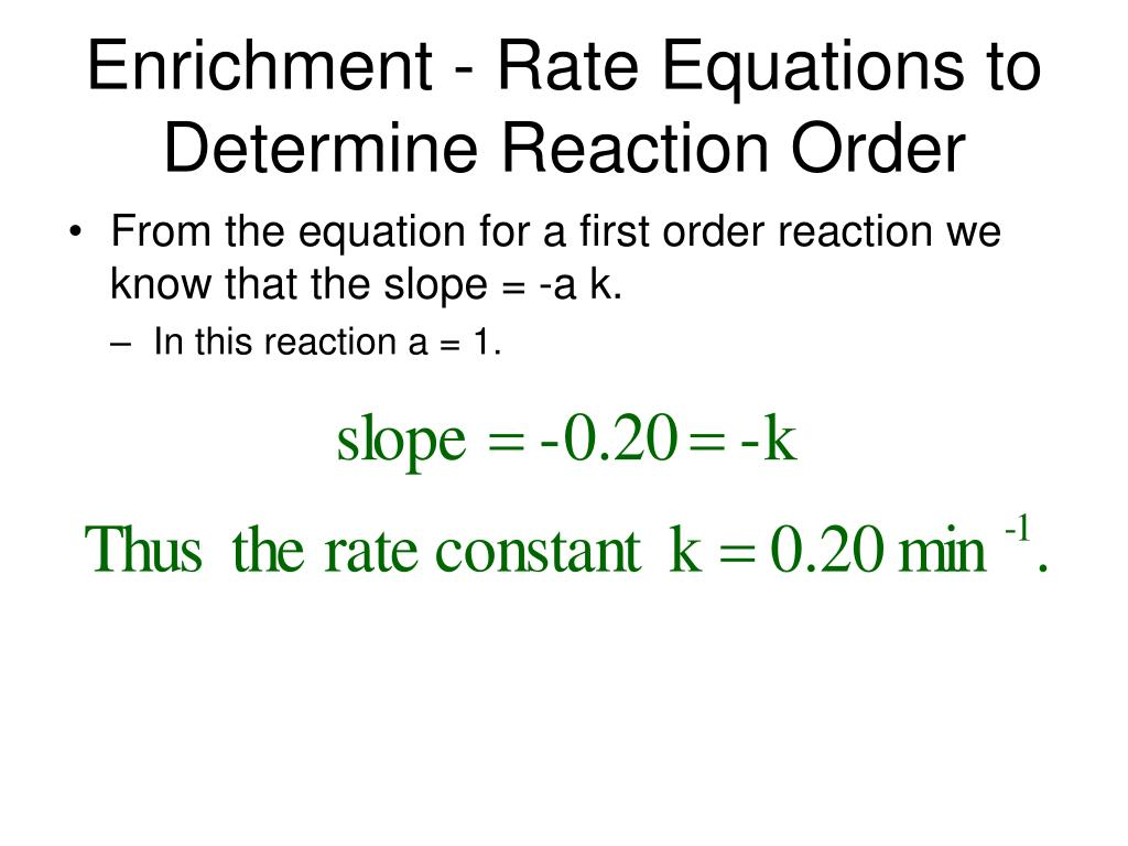 Enrichment - Rate Equations to Determine Reaction Order