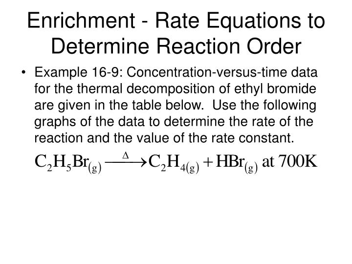 Enrichment rate equations to determine reaction order3
