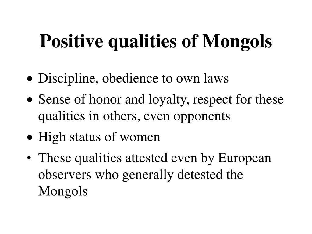 Positive qualities of Mongols