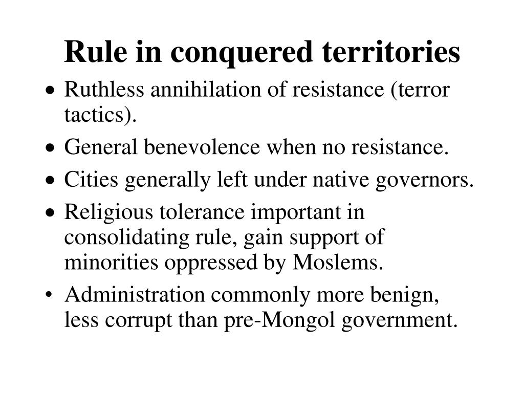 Rule in conquered territories