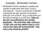 example mchardee fashion