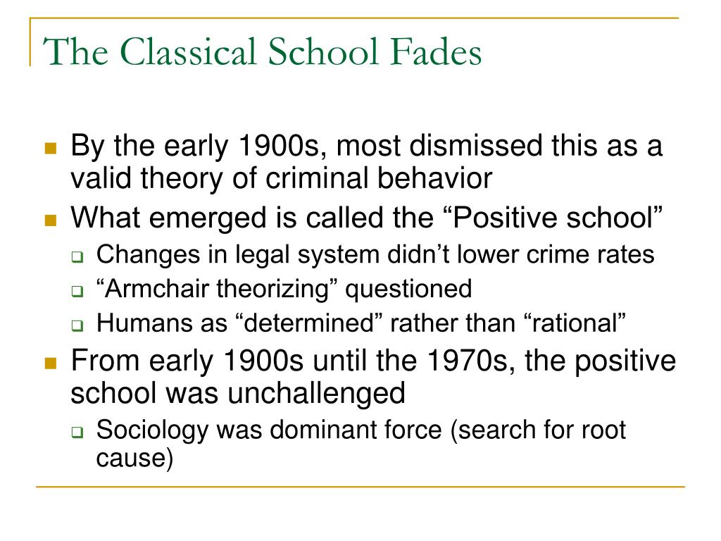 The Classical School Fades