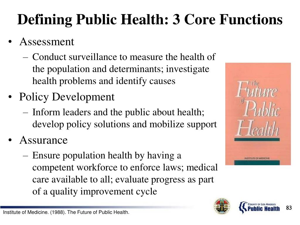 Defining Public Health: 3 Core Functions