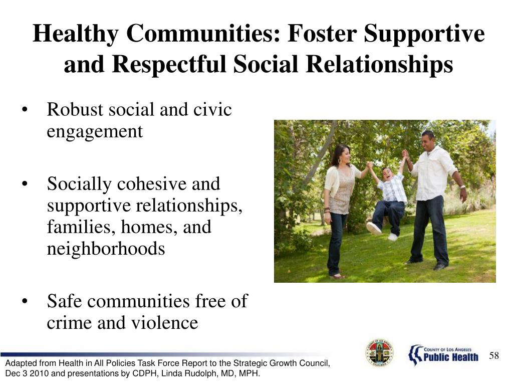 Healthy Communities: Foster Supportive and Respectful Social Relationships